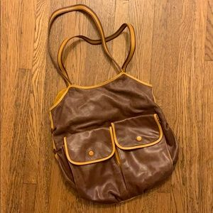 Vintage 70s brown and yellow shoulder bag